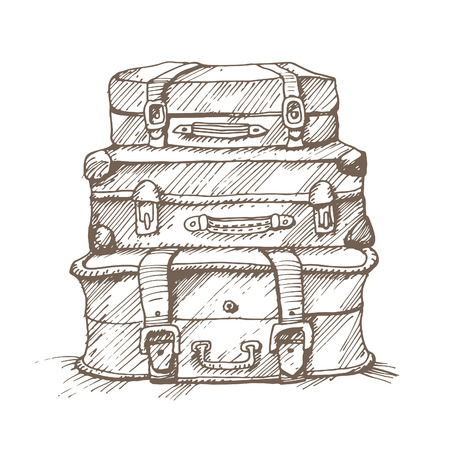 suitcases: Hand drawn illustration of a stack of suitcases.
