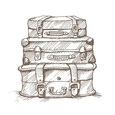 viaggi: Mano disegnato illustrazione di una pila di valigie. Vettoriali