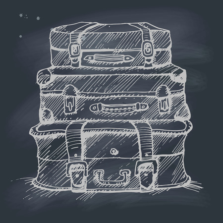 attrition: Hand drawn illustration of a stack of suitcases on blackboard.