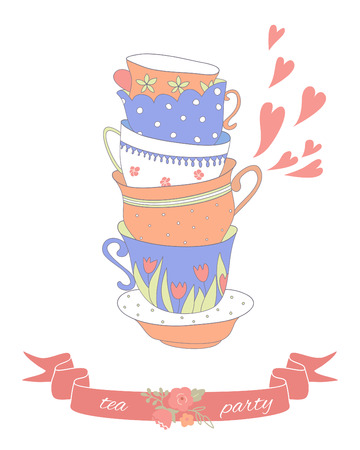 Tea party card with a stack of cute colorful cups. Vector