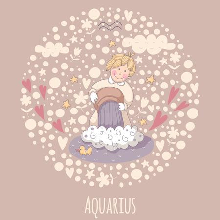 Cartoon illustration of the water-bearer (Aquarius).  Vector