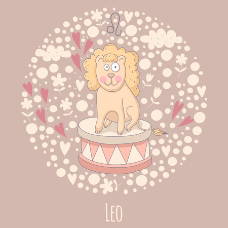 Cartoon illustration of the lion (Leo). Vector
