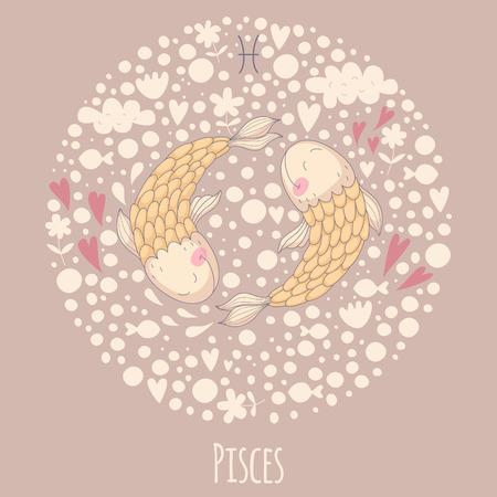 Cartoon illustration of fishes (Pisces).  Vector