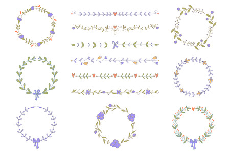 boarders: Set of hand drawn wreaths and boarders. No transparency. No gradients.
