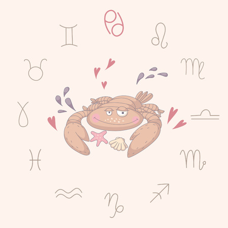 Cartoon illustration of the crab (Cancer). Part of the set with horoscope zodiac signs. No transparency. No gradients. Vector