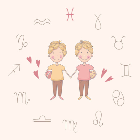 future twin: Cartoon illustration of the twins (Gemini). Part of set with horoscope zodiac signs. No transparency. No gradients. Illustration