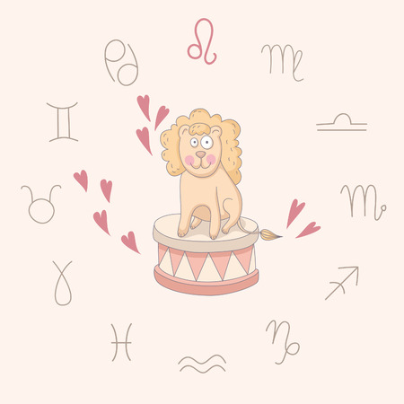 Cartoon illustration of the lion (Leo). Part of the set with horoscope zodiac signs. EPS 10. No transparency. No gradients. Vector
