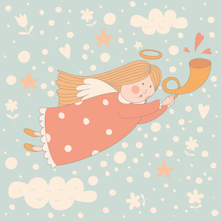 saint valentine: Cartoon illustration of a very cute angel in the sky. No transparency. No gradients. Illustration