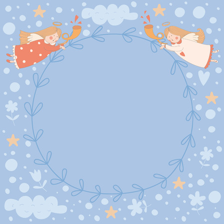 Wreath with two angels. No transparency. No gradients. Vector