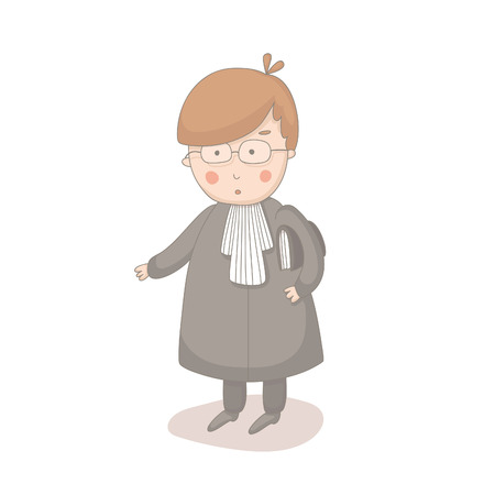insecure: Cartoon illustration of lawyer.  No transparency. No gradients.