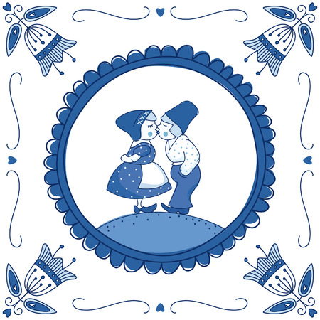 delftware: Dutch Delft blue tile with a kissing couple. EPS 10. No transparency. No gradients. Illustration