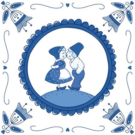 Nederlandse Delfts blauwe tegel met een kussend paar. EPS 10 Geen transparantie. Geen hellingen.