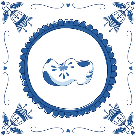 Delft blue tile with a pair of cloggs (typical Dutch shoes). EPS 10. No transparency. No gradients. Vector
