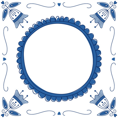 Dutch Delft blue tile with a place for a text or picture. EPS 10. No trasparency. No gradients.  イラスト・ベクター素材