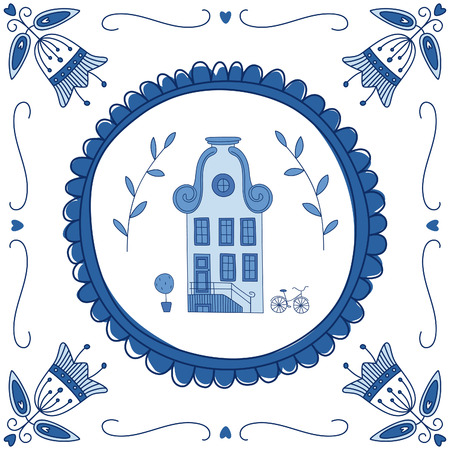 dutch typical: Delft blue tile with a typical Dutch house. EPS 10. No transparency. No gradients.