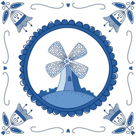 molino de agua: Azulejo azul holandés de Delft con un molino. EPS 10. no hay transparencia. No degradados. Vectores