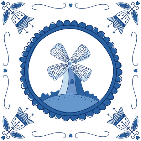 Dutch Delft blue tile with a mill. EPS 10. No transparency. No gradients. Vector