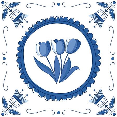 delftware: Dutch Delft blue tile with tulips. EPS 10. No transparency. No gradients. Illustration