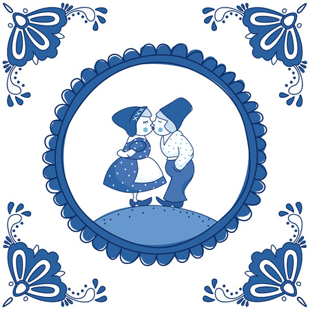 Dutch Delft blue tile with a kissing couple. EPS 10. No transparency. No gradients.  イラスト・ベクター素材