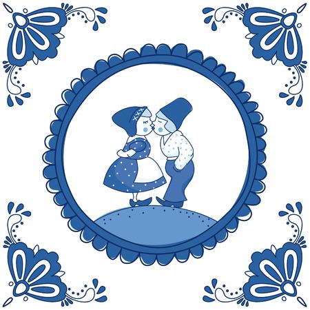 Dutch Delft blue tile with a kissing couple. EPS 10. No transparency. No gradients. 일러스트