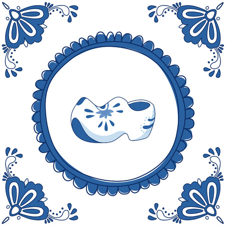 delftware: Delft blue tile with a pair of cloggs (typical Dutch shoes). EPS 10. No transparency. No gradients.