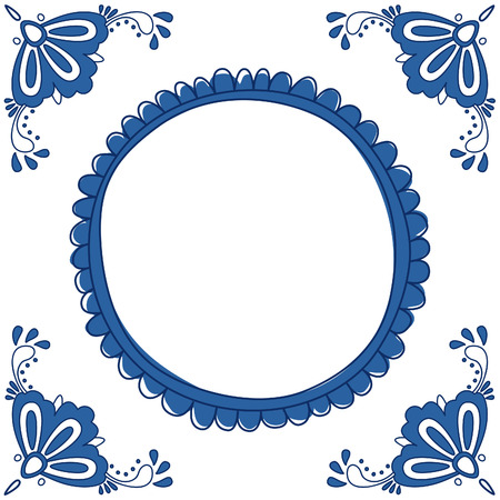 Dutch Delft blue tile with a place for a text or picture. EPS 10. No trasparency. No gradients. 일러스트