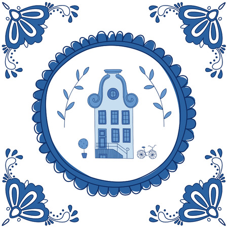 Delft blue tile with a typical Dutch house. EPS 10. No transparency. No gradients.