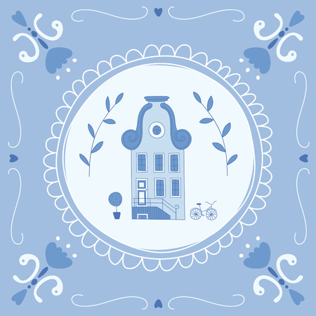 Delft blue tile with a typical Dutch house. EPS 10. No transparency. No gradients. Vector