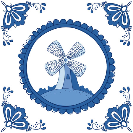 delftware: Dutch Delft blue tile with a mill. EPS 10. No transparency. No gradients.