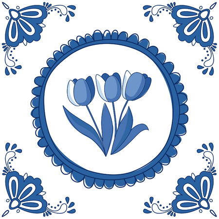 Dutch Delft blue tile with tulips. EPS 10. No transparency. No gradients. Vector