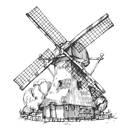 Hand drawn illustration of a mill. EPS 10. No transparency. No gradients. Vector
