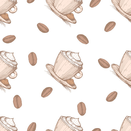 Seamless pattern with coffee beans and cappuccino. EPS 10. No transparency. No gradients. Vector