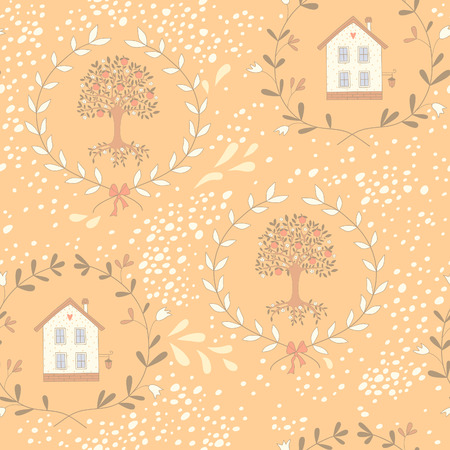orange tree: Seamless pattern with a sweet little house and an orange tree. EPS 10. No transparency. No gradients. Illustration