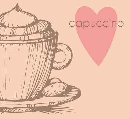 Hand drawn illustration of a cup of cappuccino. EPS 10. No transparency. No gradients. Vector