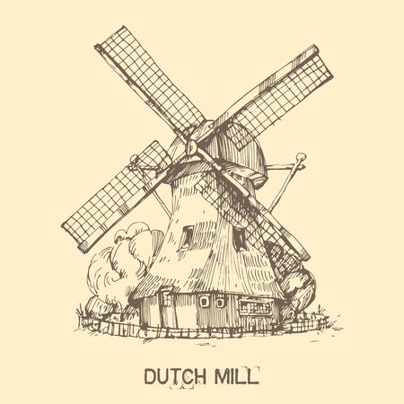 Hand getrokken illustratie van een molen. EPS 10. Geen transparantie. Geen verlopen. Stock Illustratie