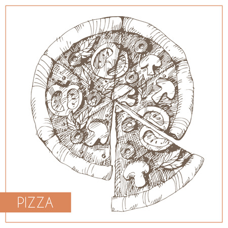 Hand drawn illustration of pizza. EPS 10. No transparency. No gradients. Vector