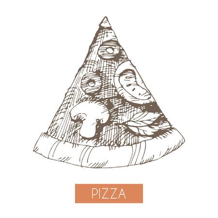 手描きのピザのスライスの図。EPS 10。透明度なし。グラデーション。
