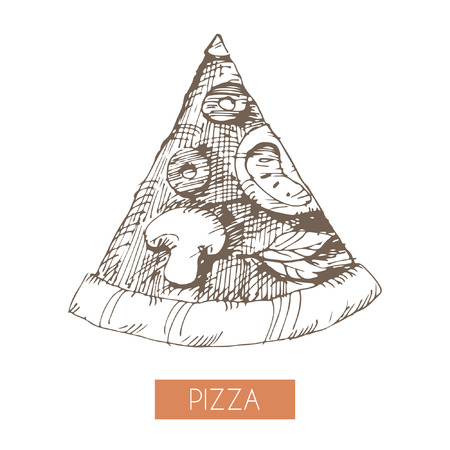 Hand drawn illustration of a pizza slice. EPS 10. No transparency. No gradients.
