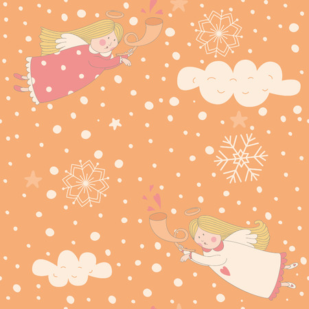 Seamless pattern with Christmas angel and snowflakes. EPS 10. No transparency. No gradients. Vector