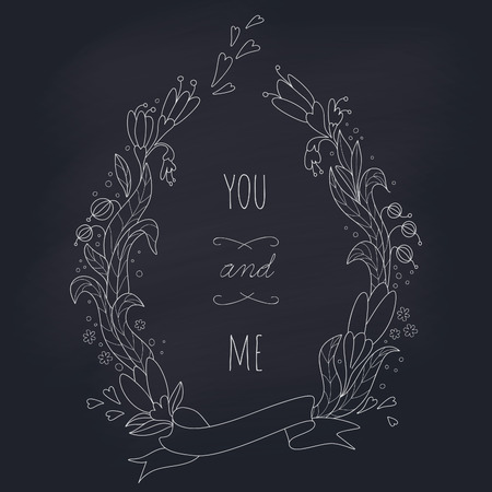valentines day background: Wedding wreath on blackboard. EPS 10. Transparency. No gradients. Illustration
