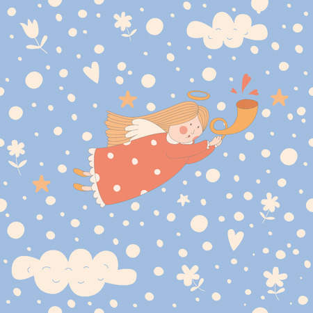 Seamless pattern with a Christmas angel. EPS 10. No transparency. No gradients. Vector