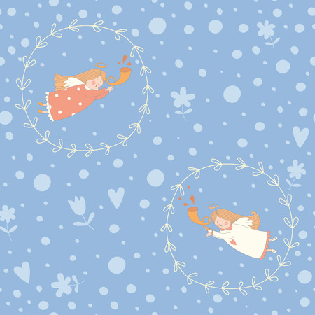 Seamless pattern with Christmas angels. EPS 10. No transparency. No gradients. Vector