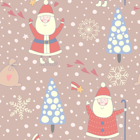 christmas seamless pattern: Seamless Christmas pattern with Santa Claus.  No transparency. No gradients. Illustration