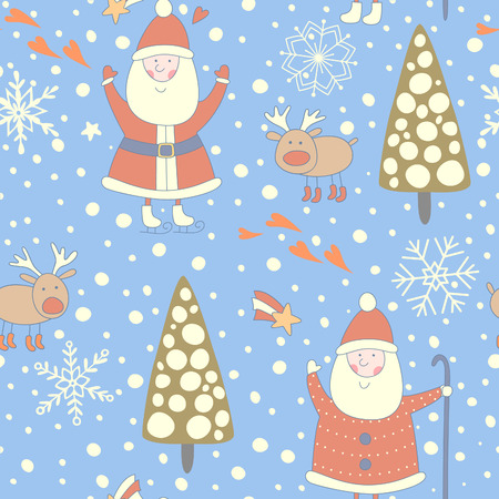 Seamless Christmas pattern with Santa and a reindeer. No transparency. No gradients. Vector