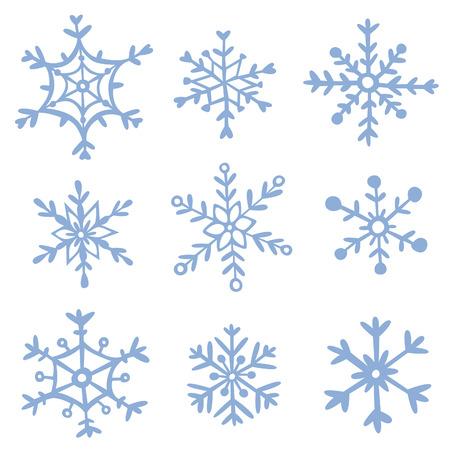 Set of hand drawn snowflakes. EPS 10. No transparency. No gradietns.