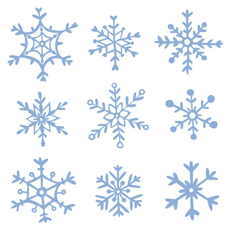 Set of hand drawn snowflakes. EPS 10. No transparency. No gradietns.
