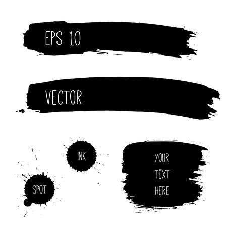 'paint brush': Set of grunge black banners. No transparency. No gradients.