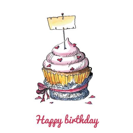 Aquarelle carte d'anniversaire avec un petit gâteau mignon. Aucune transparence. Pas de pente. Banque d'images - 31583117