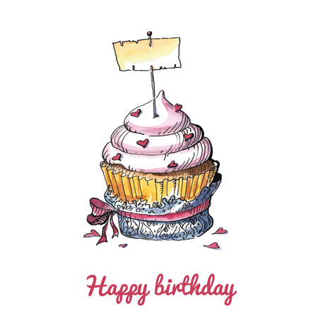 Watercolor birthday card with a cute cupcake.   No transparency. No gradients.