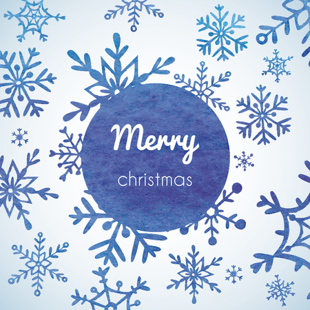 Christmas and New Year greeting card with snowflakes.     Illustration